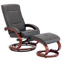vidaXL szürke állítható háttámlás műbőr fotel lábzsámollyal
