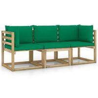 vidaXL háromszemélyes kerti kanapé zöld párnákkal