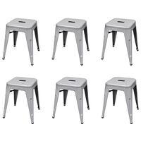 vidaXL 6 db szürke rakásolható acél ülőke