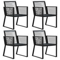 vidaXL 4 db fekete kerti kötél rattan kerti szék