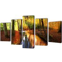 Nyomtatott vászon falikép szett erdő 200 x 100 cm