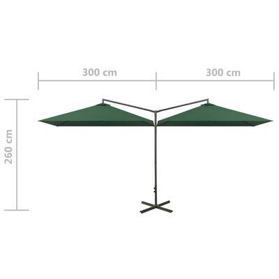 vidaXL zöld dupla napernyő acélrúddal 600 x 300 cm
