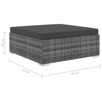 vidaXL 13 részes szürke polyrattan kerti bútorszett párnákkal