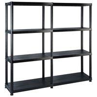 vidaXL fekete műanyag 4 szintes tárolópolc 122 x 30,5 x 130 cm