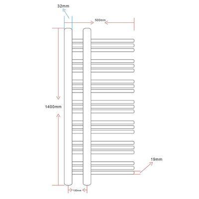 Fürdőszobai törölközőszárító radiátor központi fűtéssel E alakú 500 x 1400 mm