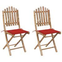 vidaXL 2 db összecsukható bambusz kerti szék párnával