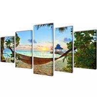 Vászon falikép szett homokos tengerpart függőággyal 100 x 50 cm