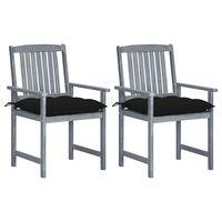 vidaXL 2 db szürke tömör akácfa rendezői szék párnával