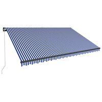 vidaXL kék és fehér kézzel kihúzható LED-es napellenző 500 x 300 cm