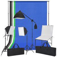 vidaXL fotó stúdió szett, tárgyasztal, softbox fények, háttérfüggönyök