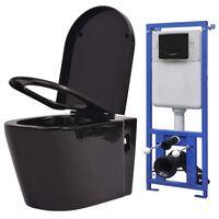 vidaXL fekete falra szerelhető kerámia WC rejtett öblítőtartállyal