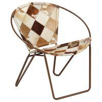 vidaXL barna gyémántmintás valódi bőr szék