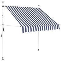 vidaXL kézzel feltekerhető napellenző kék-fehér csíkokkal 200 cm