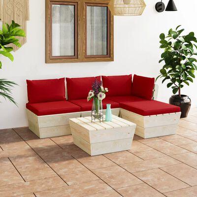 vidaXL 5 részes lucfenyő kerti raklap-bútorgarnitúra párnákkal