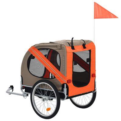 vidaXL narancssárga és barna kutyaszállító kerékpár-utánfutó , narancssárga és barna
