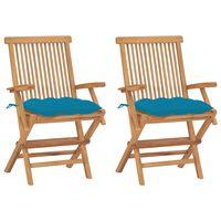 vidaXL 2 db tömör tíkfa kerti szék világoskék párnával