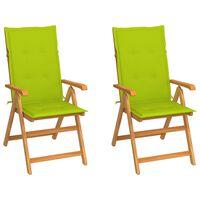 vidaXL 2 db tömör tíkfa kerti szék élénkzöld párnákkal