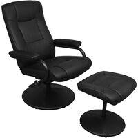 vidaXL fekete műbőr TV-fotel lábzsámollyal