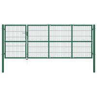vidaXL zöld acél kerti kerítéskapu póznákkal 350 x 120 cm