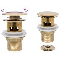 vidaXL arany nyomógombos leeresztőszelep túlfolyóval 6,4x6,4x9,1 cm
