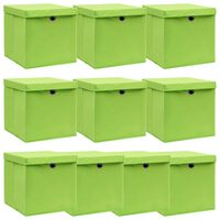 vidaXL 10 db zöld szövet tárolódoboz fedéllel 32 x 32 x 32 cm