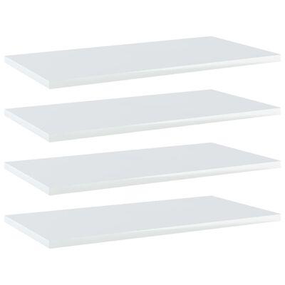 vidaXL 4 db magasfényű fehér forgácslap könyvespolc 60 x 30 x 1,5 cm