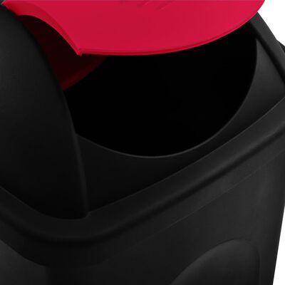 vidaXL fekete és piros szemeteskuka lengőfedéllel 60 L