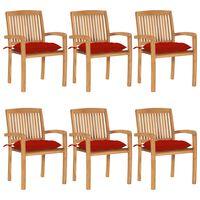 vidaXL 6 db rakásolható tömör tíkfa kerti szék párnákkal