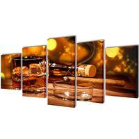 Nyomtatott vászon falikép szett whiskey és szivar 100 x 50 cm