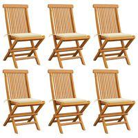 vidaXL 6 db tömör tíkfa kerti szék krémszínű párnával