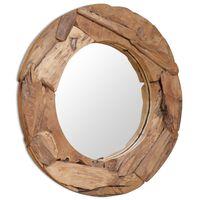 vidaXL dekoratív és kerek tükör tíkfából 80 cm