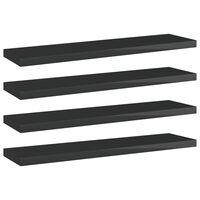 vidaXL 4 db magasfényű fekete forgácslap könyvespolc 40 x 10 x 1,5 cm