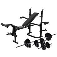 vidaXL súlyzópad állvánnyal, egykezes és kétkezes súlyzószettel 30,5 kg