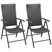 vidaXL 2 db fekete rakásolható polyrattan kerti szék