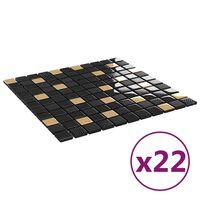 vidaXL 22 db fekete-aranyszínű öntapadó üveg mozaikcsempe 30 x 30 cm