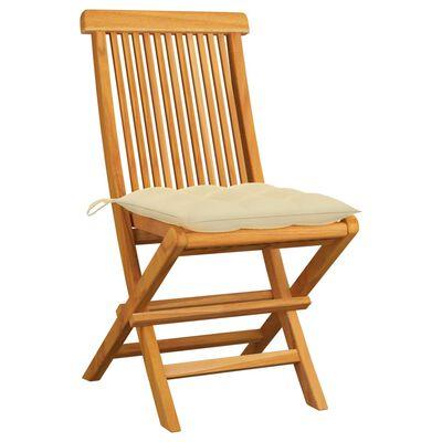 vidaXL 2 db tömör tíkfa kerti szék krémfehér párnával