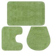 vidaXL 3 darabos zöld szövet fürdőszobaszőnyeg-garnitúra, Zöld