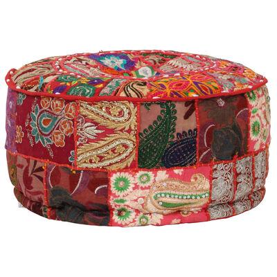 vidaXL kézzel készült kerek piros pamut patchwork puff 40 x 20 cm