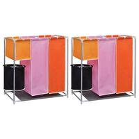 vidaXL 2 db 3-részes ruháskosár szennyestartóval