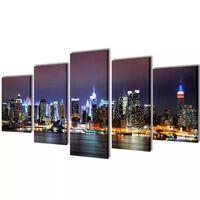 Vászon falikép szett színes new york-i Skyline 200 x 100 cm