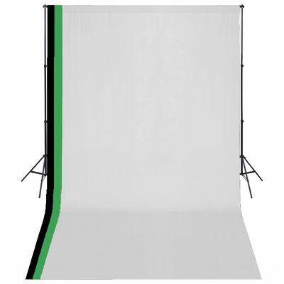vidaXL fotóstúdió-felszerelés 3 pamut háttérrel, kerettel 3 x 5 m