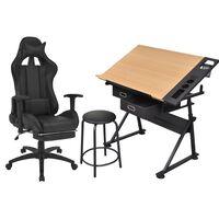 vidaXL dönthető lapú rajzasztal irodai racing székkel