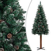 vidaXL zöld vékony PVC karácsonyfa valódi fával és fehér hóval 180 cm