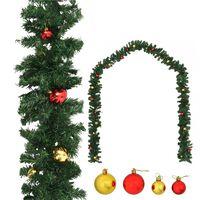 vidaXL karácsonyi füzér díszekkel 10 m
