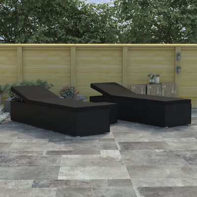 vidaXL 3 darabos fekete polyrattan kerti napozóágy szett