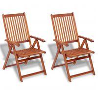 vidaXL 2 db barna összecsukható tömör akácfa kerti szék
