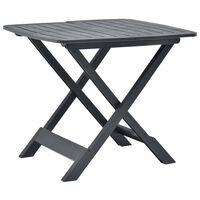 vidaXL antracitszürke műanyag összecsukható kerti asztal 79x72x70 cm