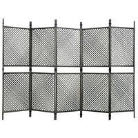 vidaXL 5 paneles antracitszürke polyrattan paraván 300 x 200 cm