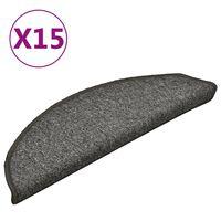 vidaXL 15 db sötétszürke lépcsőszőnyeg 56 x 17 x 3 cm