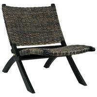 vidaXL fekete természetes kubu rattan és tömör mahagóni pihenőszék